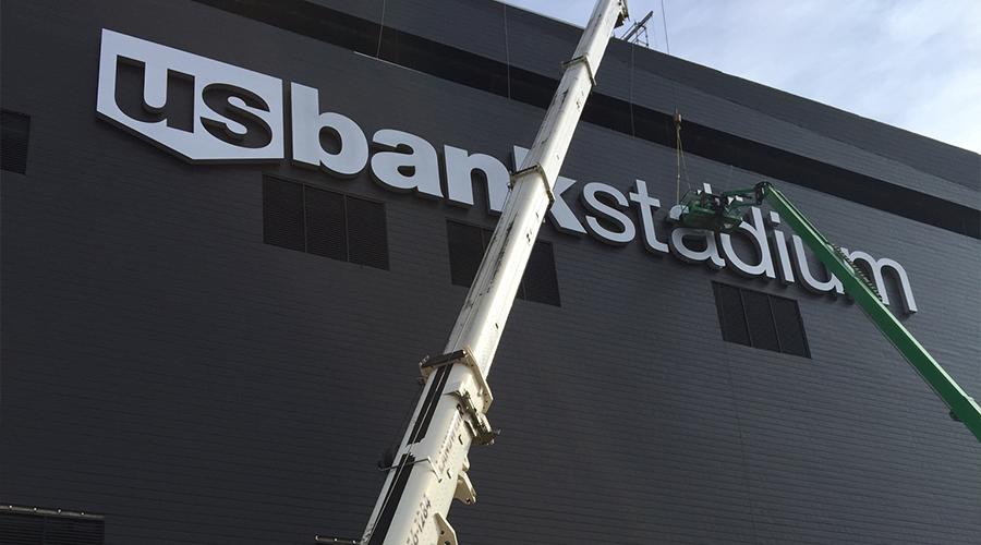 Crane at US Bank Stadium - Landwehr Construction